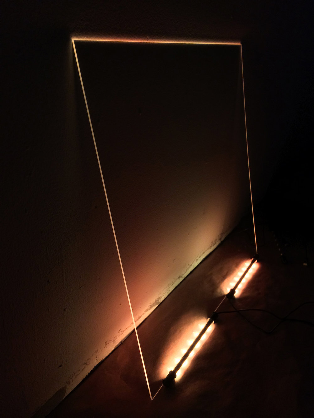 Lit, Leaning, Negative (space)  LED lights, plexiglass