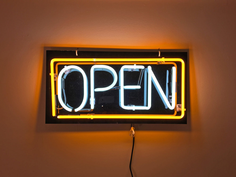 (for)  Neon open sign