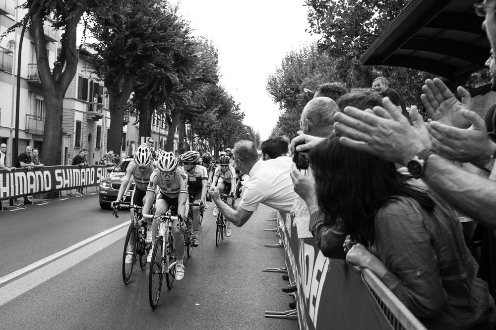 6. Passionate fans cheer on the women on at the World Championship road race in Florence, Italy.