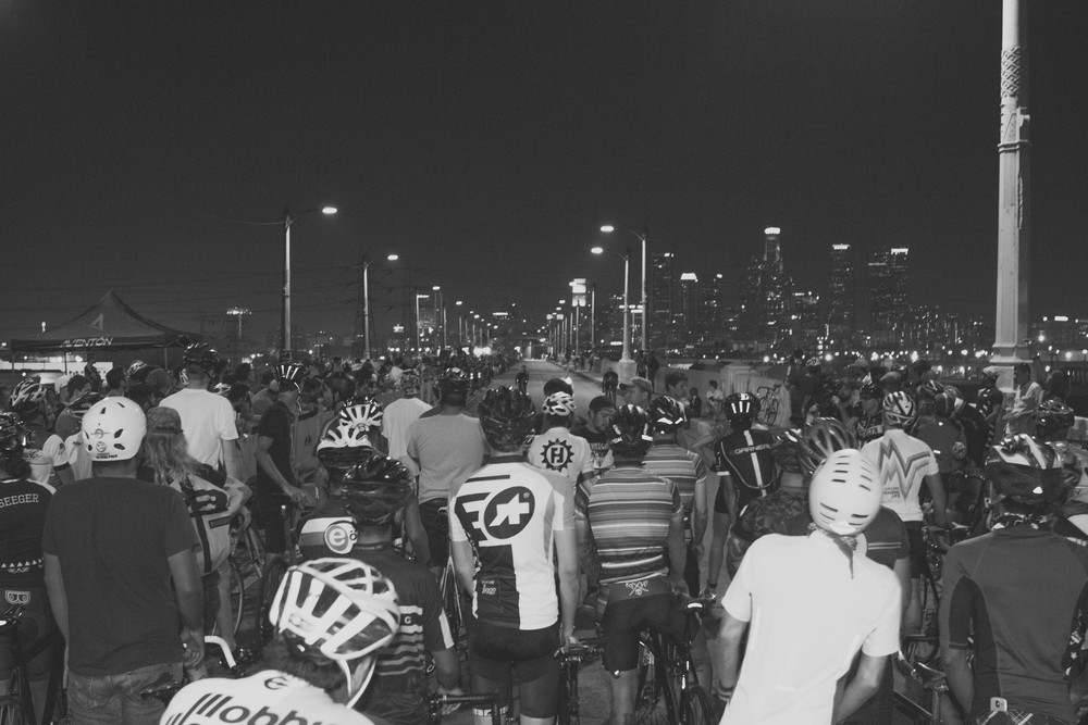 9. Riders wait for their start at the Wolfpack Hustle drag races on the 6th St bridge in Los Angeles.