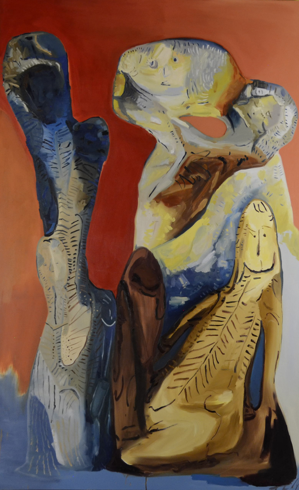 Clustered Figures in a Space, oil on canvas, 60x120 inches.