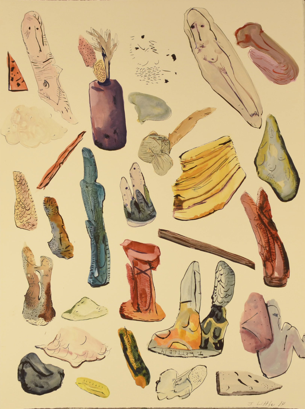 Object Inventory, 22 x 30 inches, watercolor on paper,  2014.