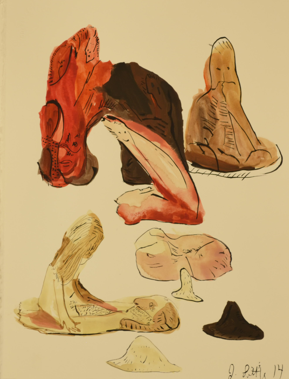 Still Life with Red Figure, 11 x 15 inches,  watercolor on paper, 2014.