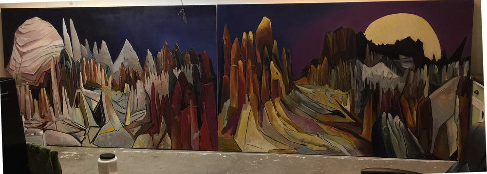 Wheeler Geological Area(Public Art Commission), oil on canvas, 60x190 inches.