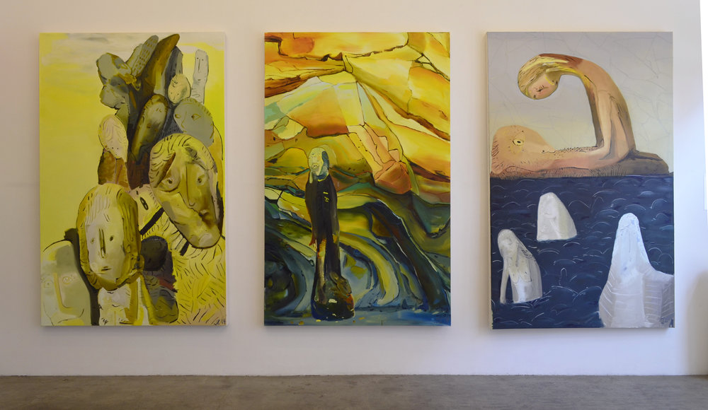 Installation view of  Non Sequitur Streaming Narrative , Jancar Gallery, Los Angeles, CA, 2015.