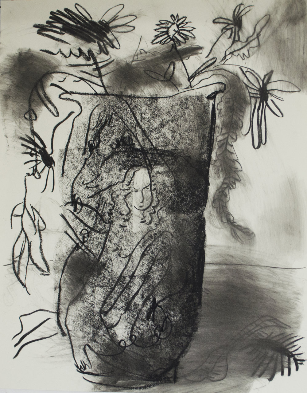 Vase, charcoal on paper, 22 x 30 inches, 2017.