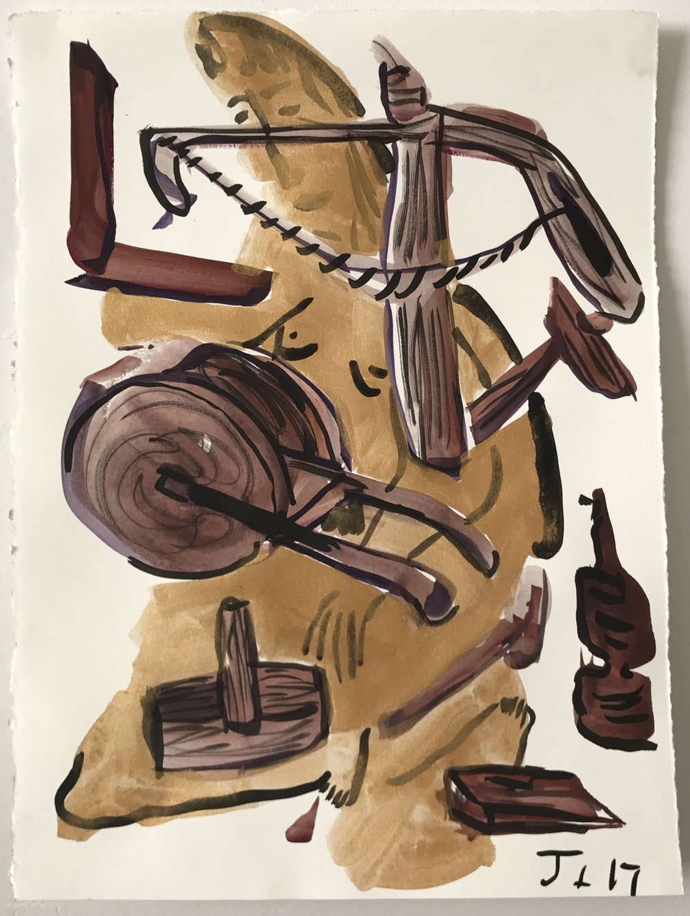 Wooden Tools, 11 x 15 inches, watercolor and ink on paper, 2017.