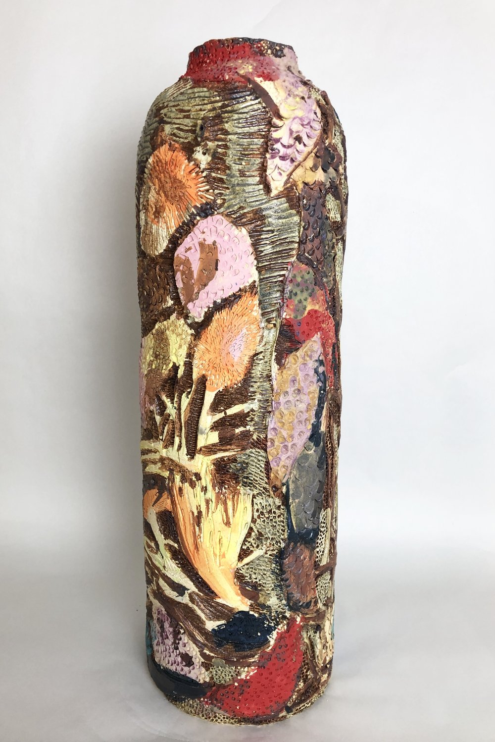 "Stoneware and Glaze, 9""x28""."