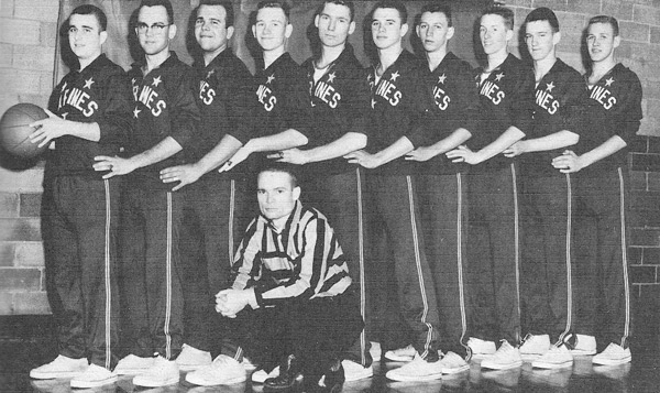 Hamilton Marines Basketball, 1958 - Coach Smolinske and that's me on the far right.