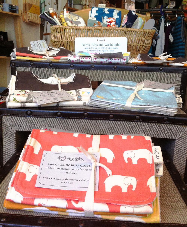 locally made organic washcloths, burps and bibs!