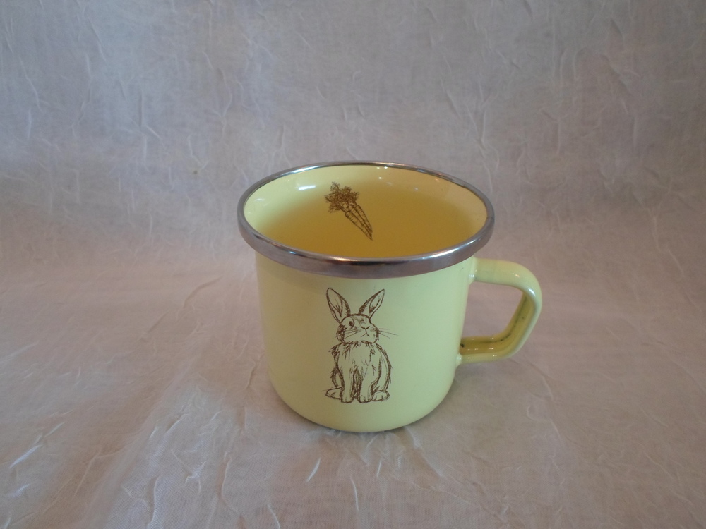 Yellow Bunny  Enamelware Mug    $8.95    Wants 1 - PURCHASED