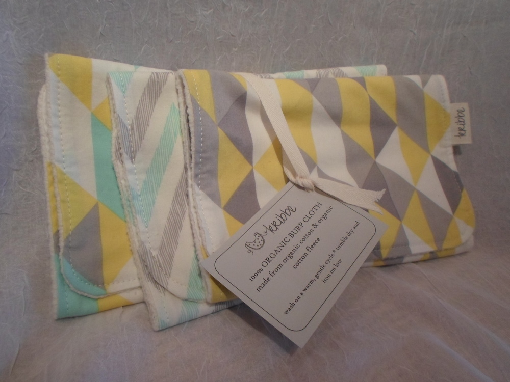 Organic Burp Cloth - Set of 3 - Locally Handmade $39 Wants 1 PURCHASED