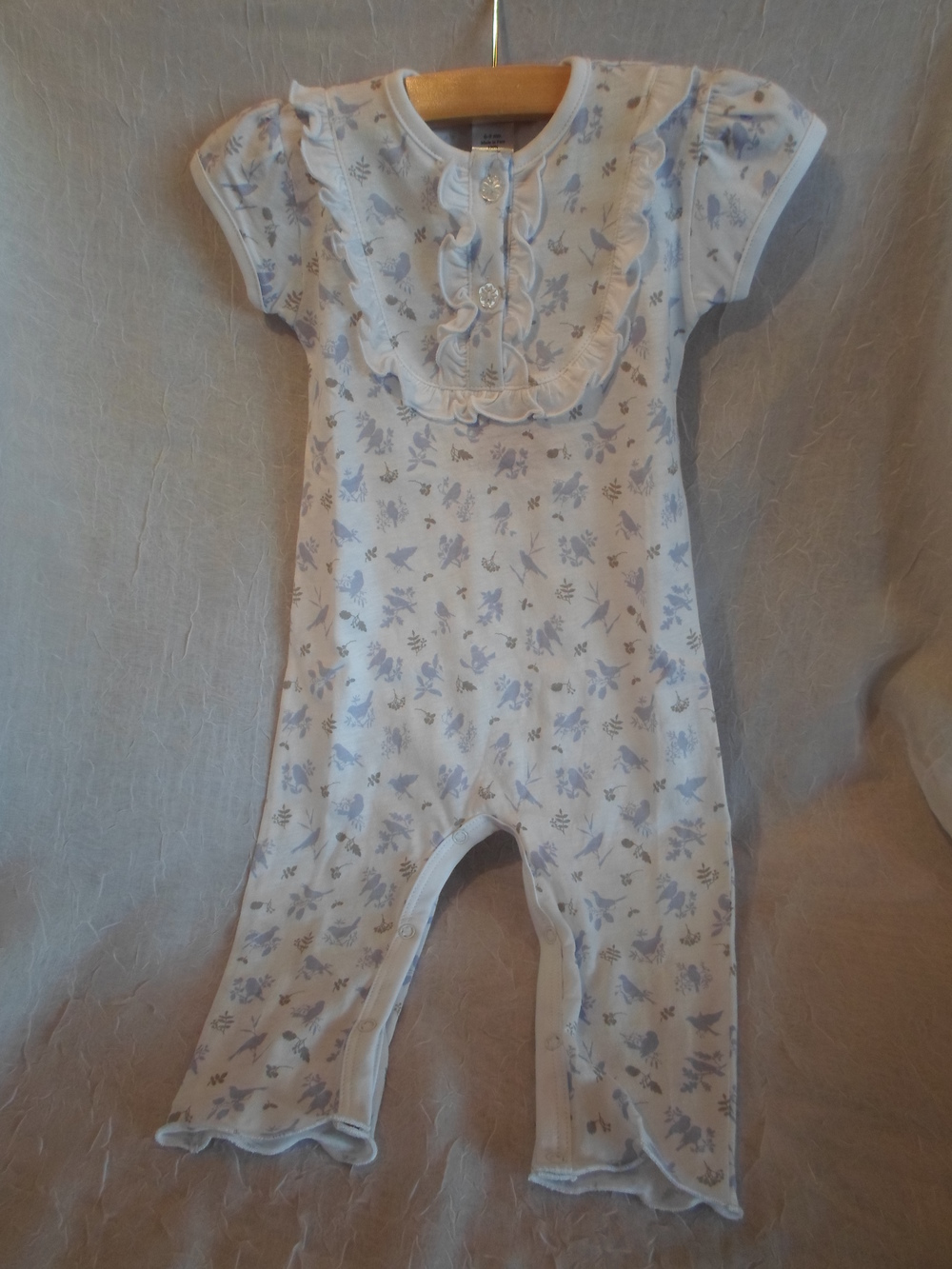 Feather Baby Organic Pima Cotton Romper Periwinkle Birds in size 0-3m $39.00 Wants 1 PURCHASED