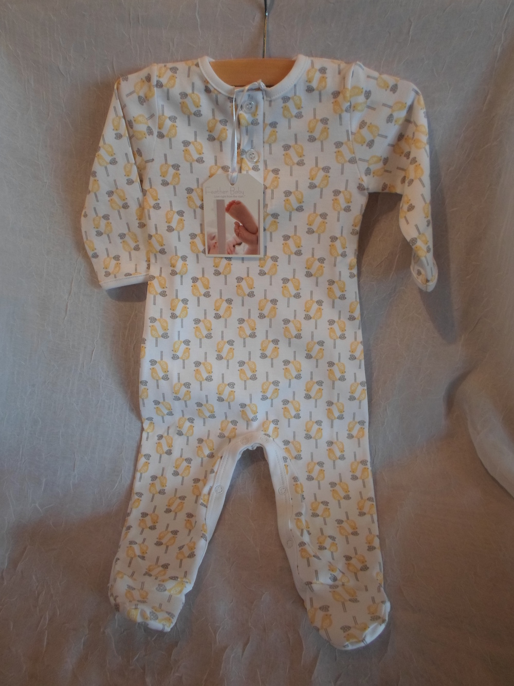 Feather Baby Pima Cotton Footed Romper Yellow Birds in size 6-9m $36.00 Wants 1
