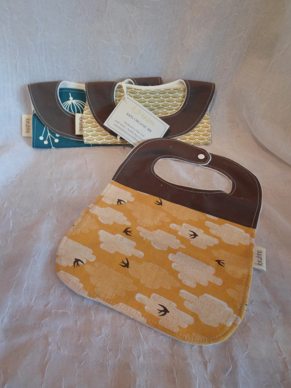 Kribbe Organic Bib Set of 3 Locally Handmade $39 Wants 1 - PURCHASED