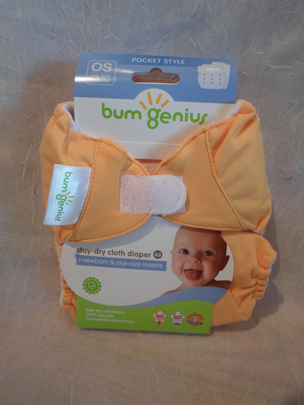 bumGenius 4.0 One Size Pocket Diaper in Clementine $17.95 each Wants 1 - PURCHASED