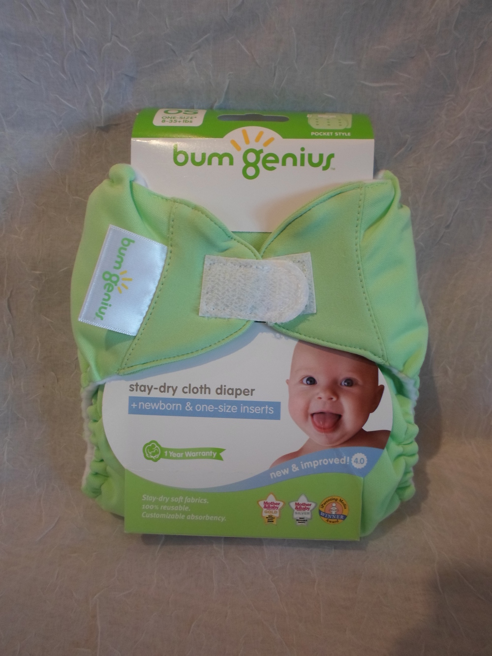 bumGenius 4.0 One Size Pocket Diaper in Grasshopper $17.95 each Wants 1