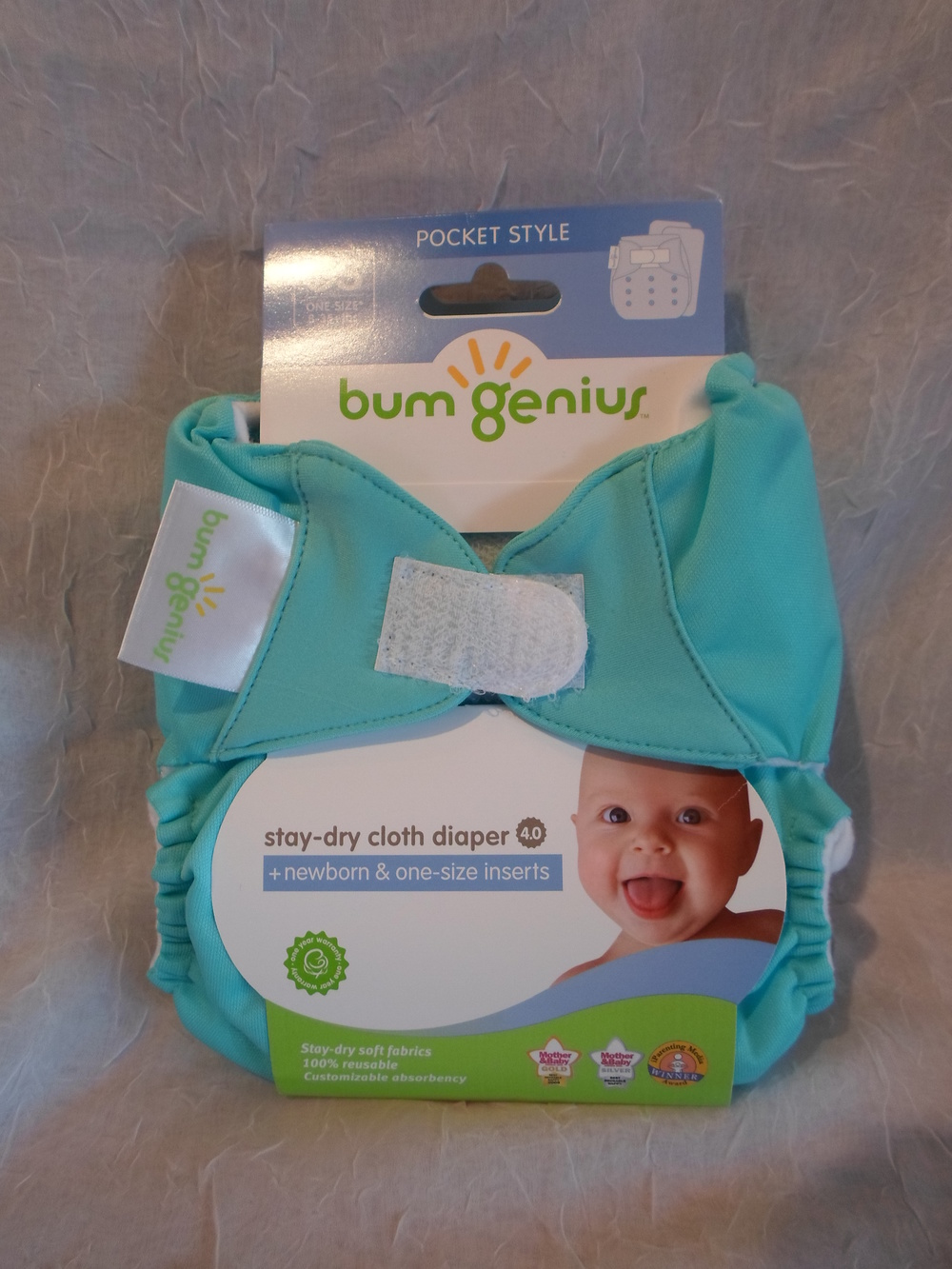bumGenius 4.0 One Size Pocket Diaper in Mirror $17.95 each Wants 1