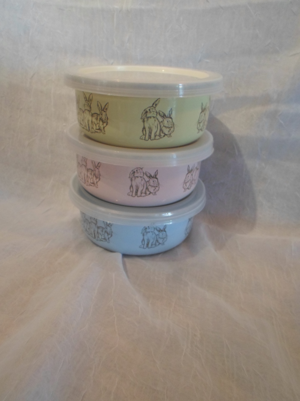 Enamelware Bunny Bowl w/ Lid in yellow, pink and blue $9.95 each Wants 3 PURCHASED