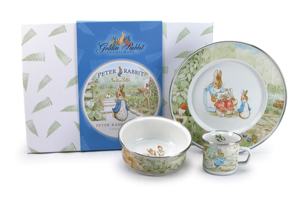 Peter Rabbit Enamelware Set- plate, bowl with lid and mug    $49.95    Wants 1 PURCHASED