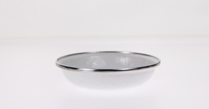 Small Enamelware Feeding Dish in white    $6.95 each    Wants 2 PURCHASED