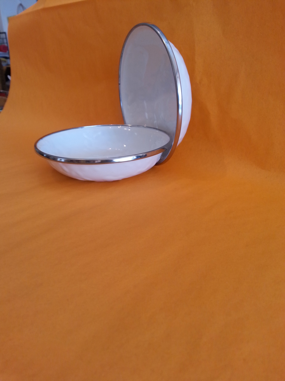 Small Enamelware Feeding Dish in white $6.95 each Wants 1 PURCHASED