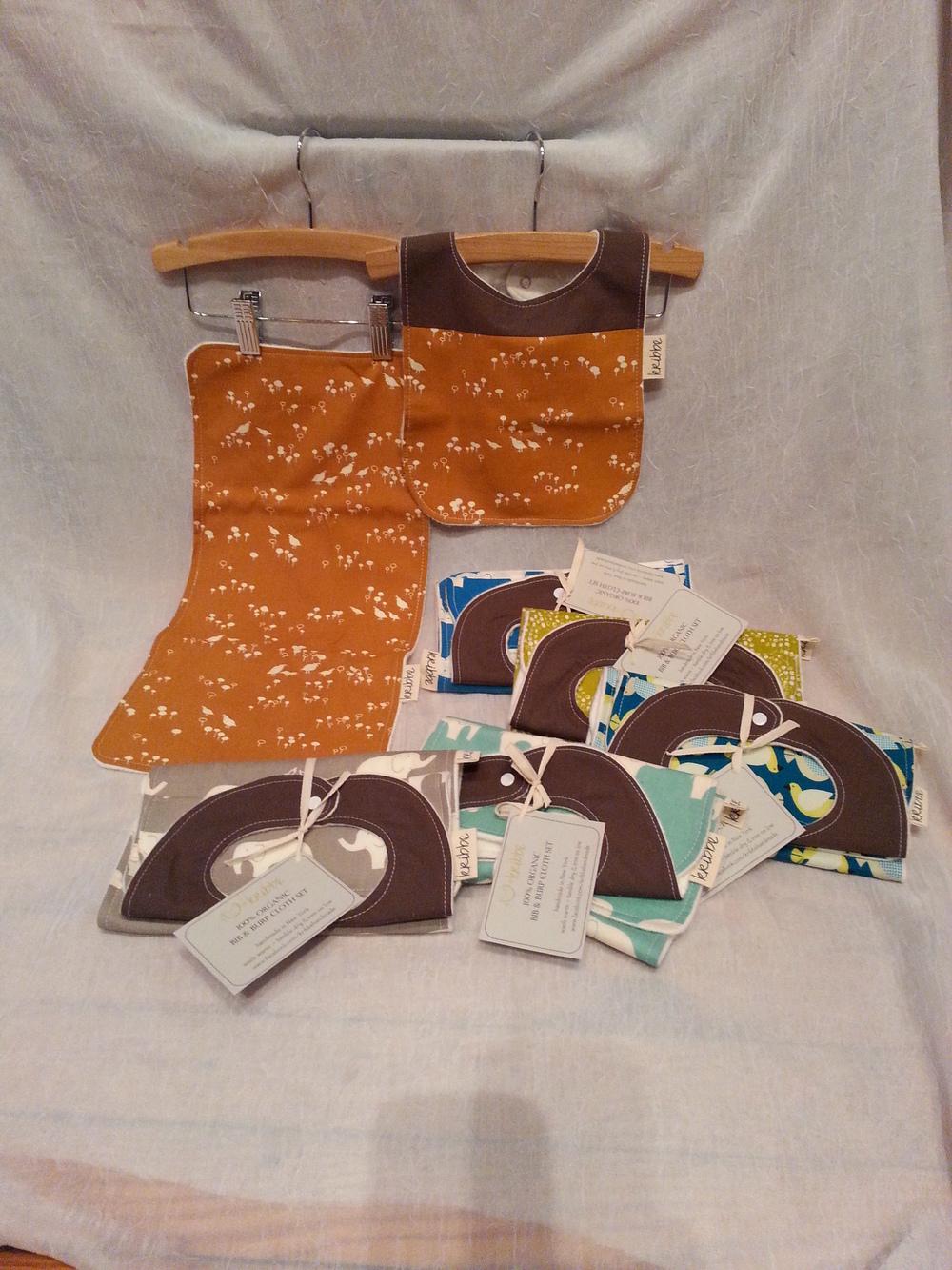 Kribbe Organic Cotton Bib & Burp Set (your choice)  Locally Handmade   $27.00    Wants 1