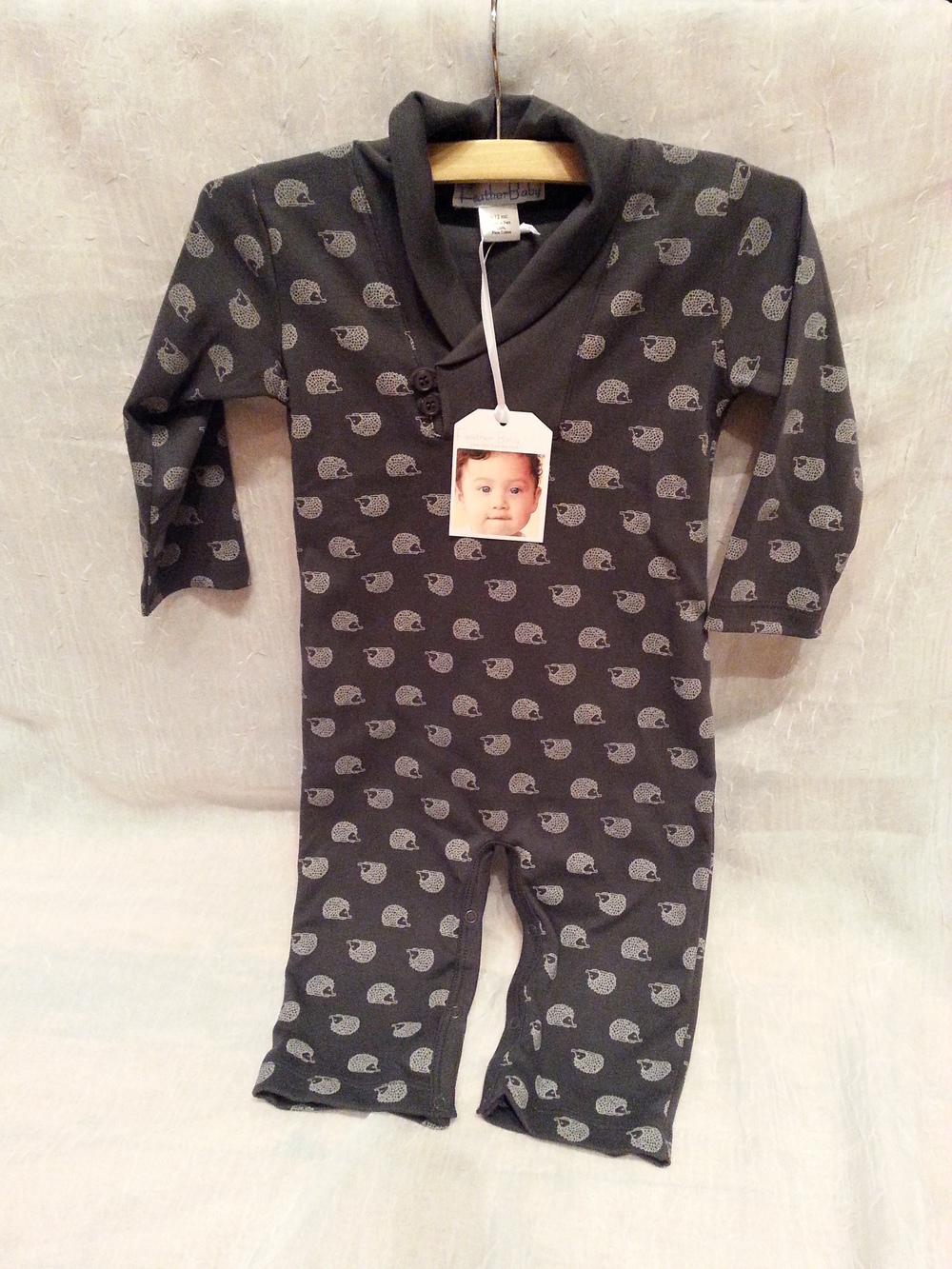 Feather Baby Pima Cotton Grey Hedgehog Romper in 9-12m $42.95 Wants 1 PURCHASED