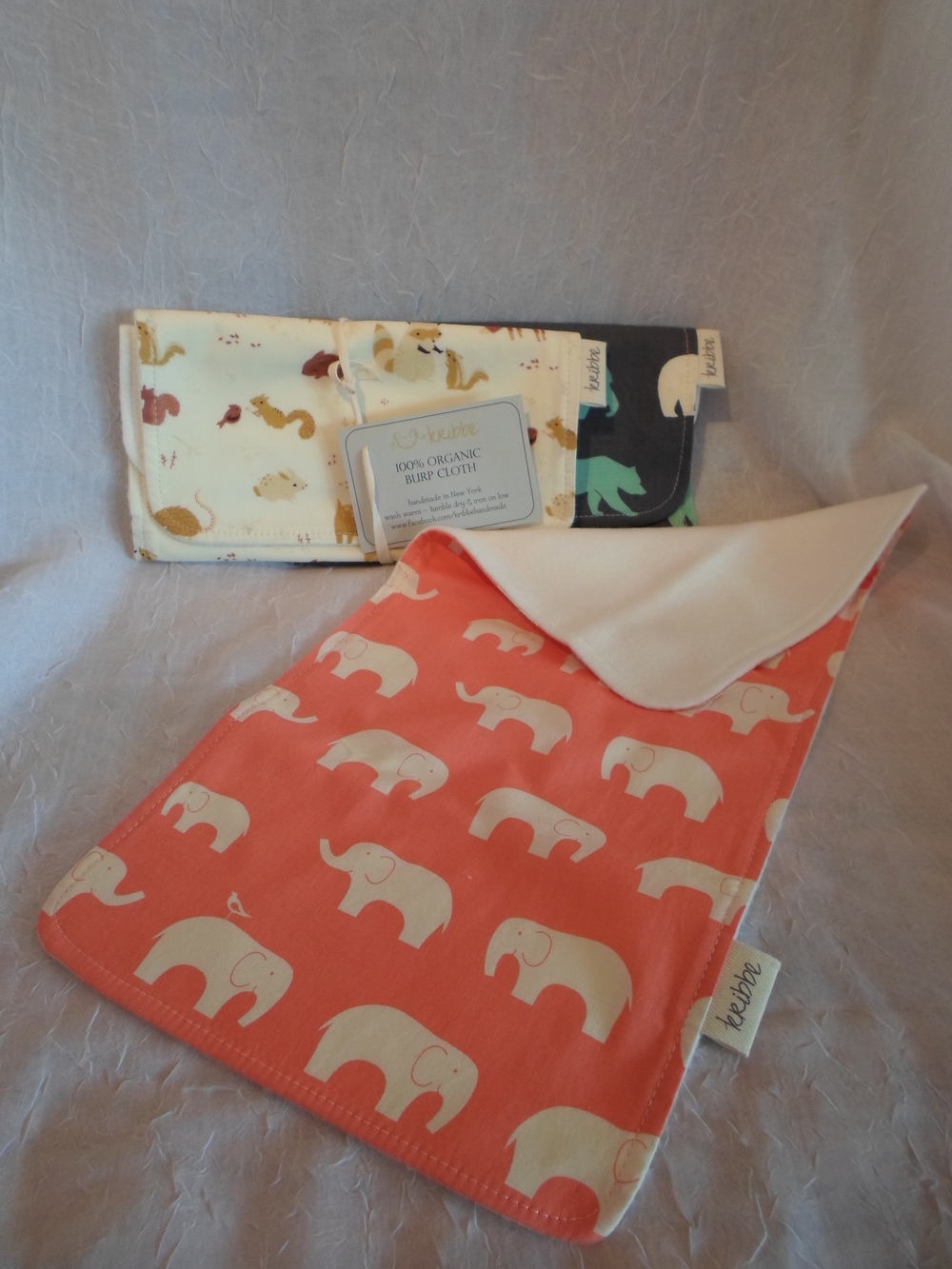 Kribbe Organic Cotton Burps (your choice fabric)  Locally Handmade   $14.00 ea    Wants 1+