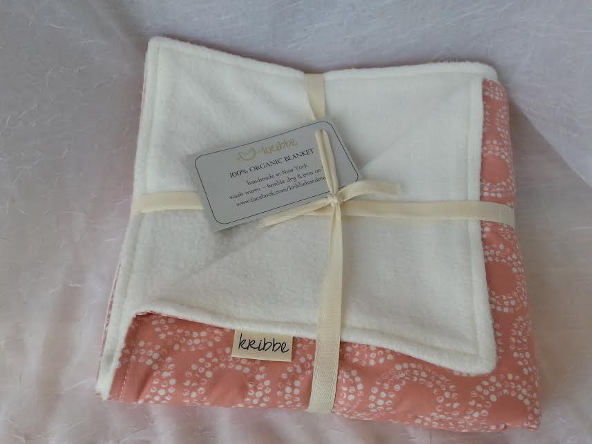 Kribbe Organic Blanket   in Pink Circles  -Locally Handmade   $54.95    Wants 1  purchased