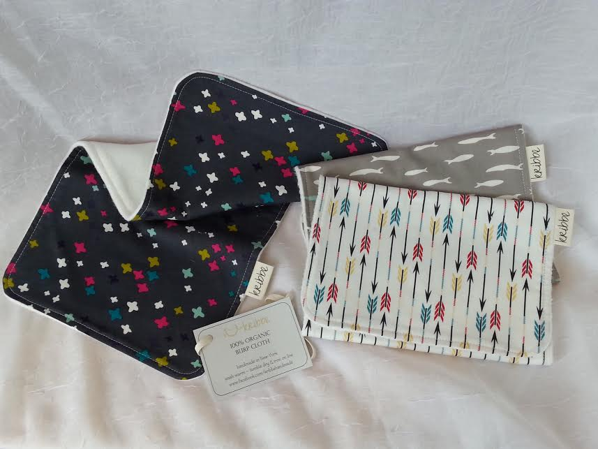Kribbe Organic Burp Cloth set of 3  -Locally Handmade   $39.00    Wants 1  purchased