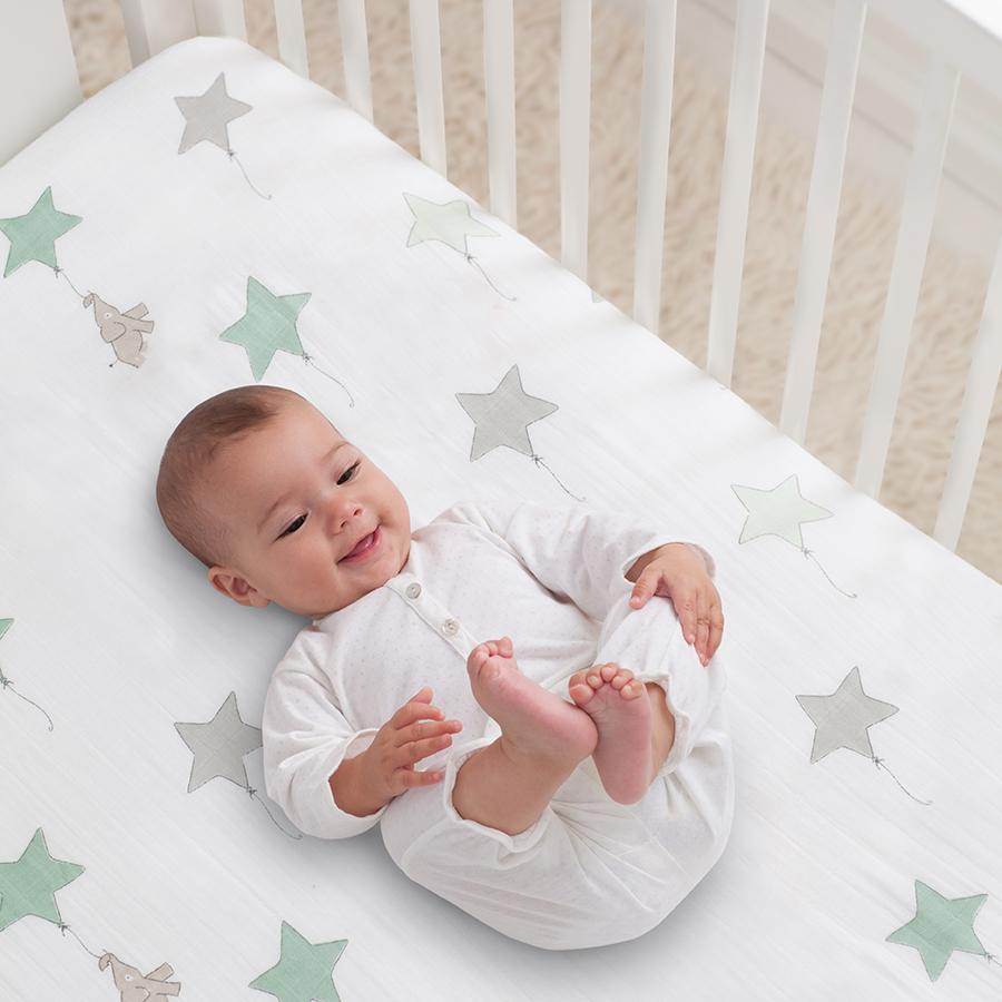 Aden & Anais Muslin Crib Sheet in Up, Up & Away $29.95 Wants 1 purchased