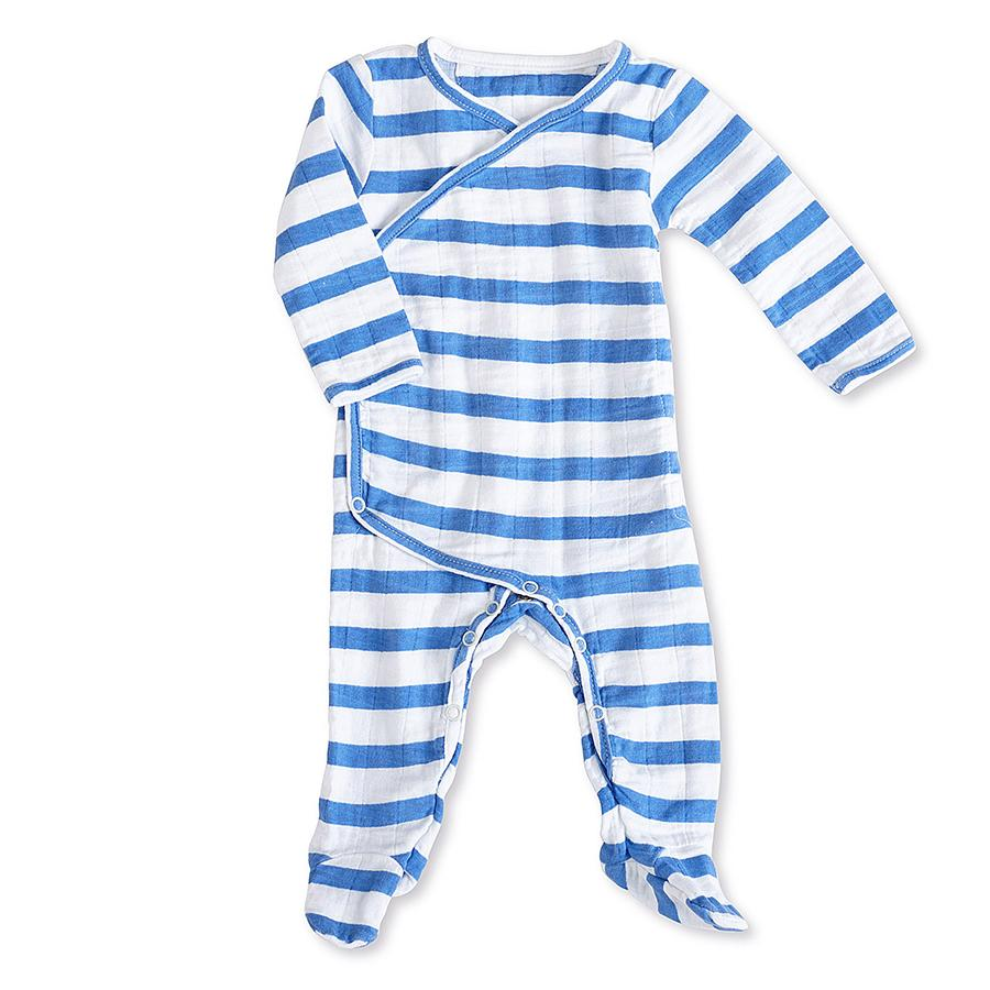 Aden & Anais Muslin Long Sleeve Kimono Footie 3-6m in Blue Stripe    $29.95    Wants 1  purchased