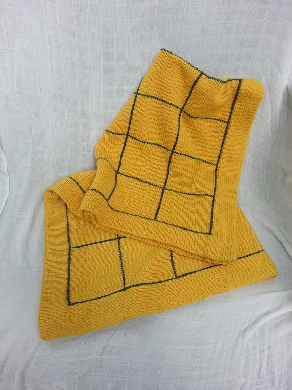 Hand Knit Wool Blanket in Mustard Yellow    $150.00    Wants 1
