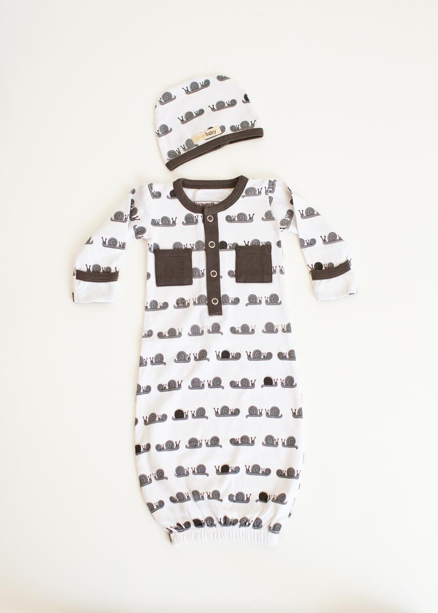 L'ovedbaby   Organic Gown in White size 0-3m    (cap sold separately)   $25.95     Wants 1  purchased