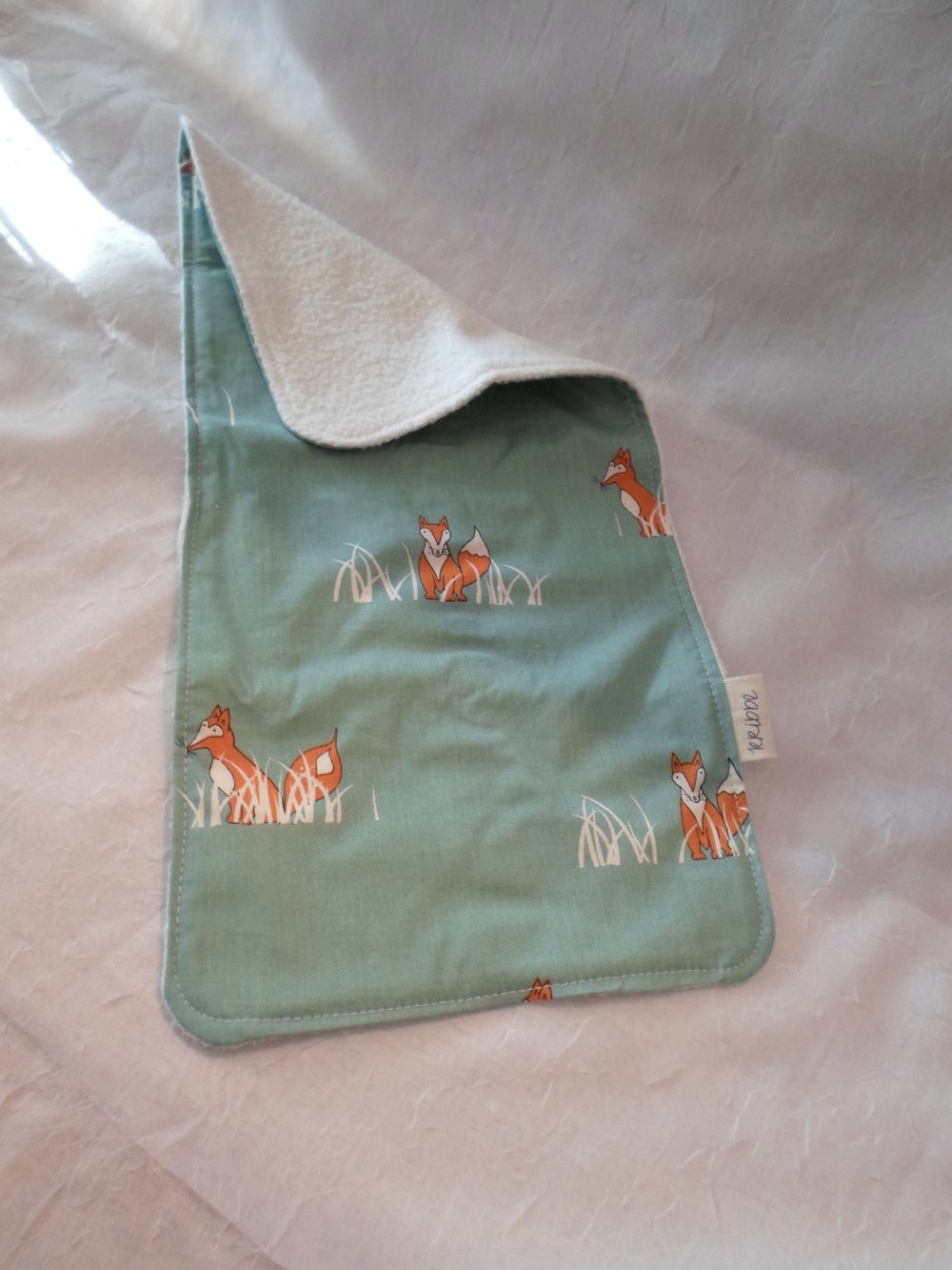 Kribbe Organic Cotton Burp Cloth in Fox    Locally Handmade   $14.00    wants 1  purchased