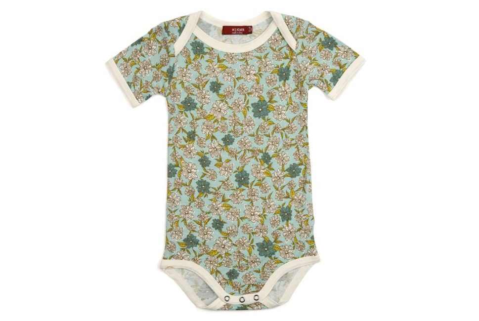 Milkbarn Bamboo Long Sleeve One Piece in Blue Floral size 3-6m    $31.00    Wants 1