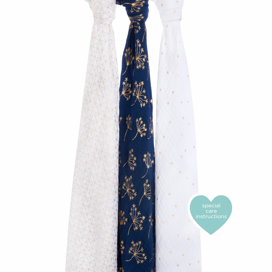 Aden & Anais 3 pack Muslin Swaddles in Gold Deco    $49.95    Wants 1  purchased
