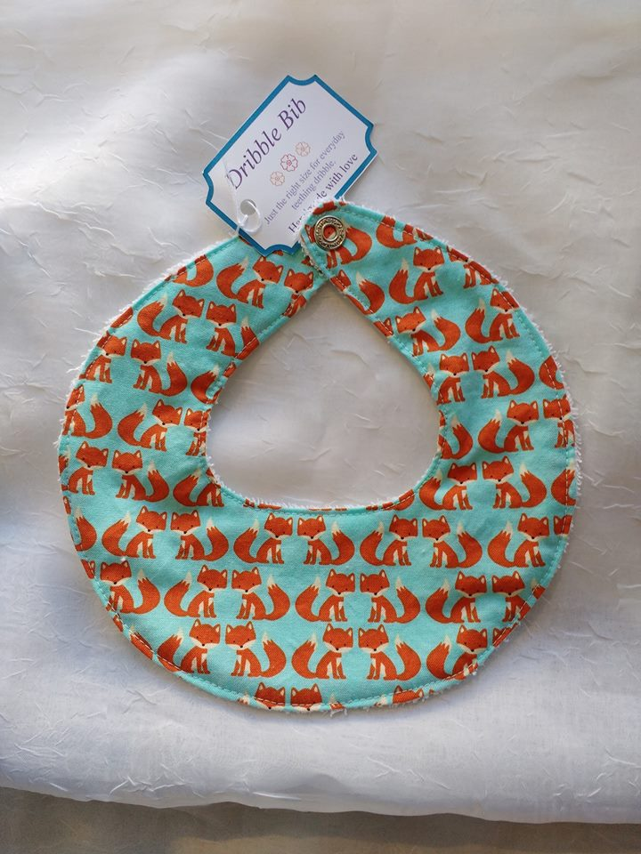 Dribble Bib in Aqua Fox   (Locally Handmade)   $7.50    Wants 1  purchased