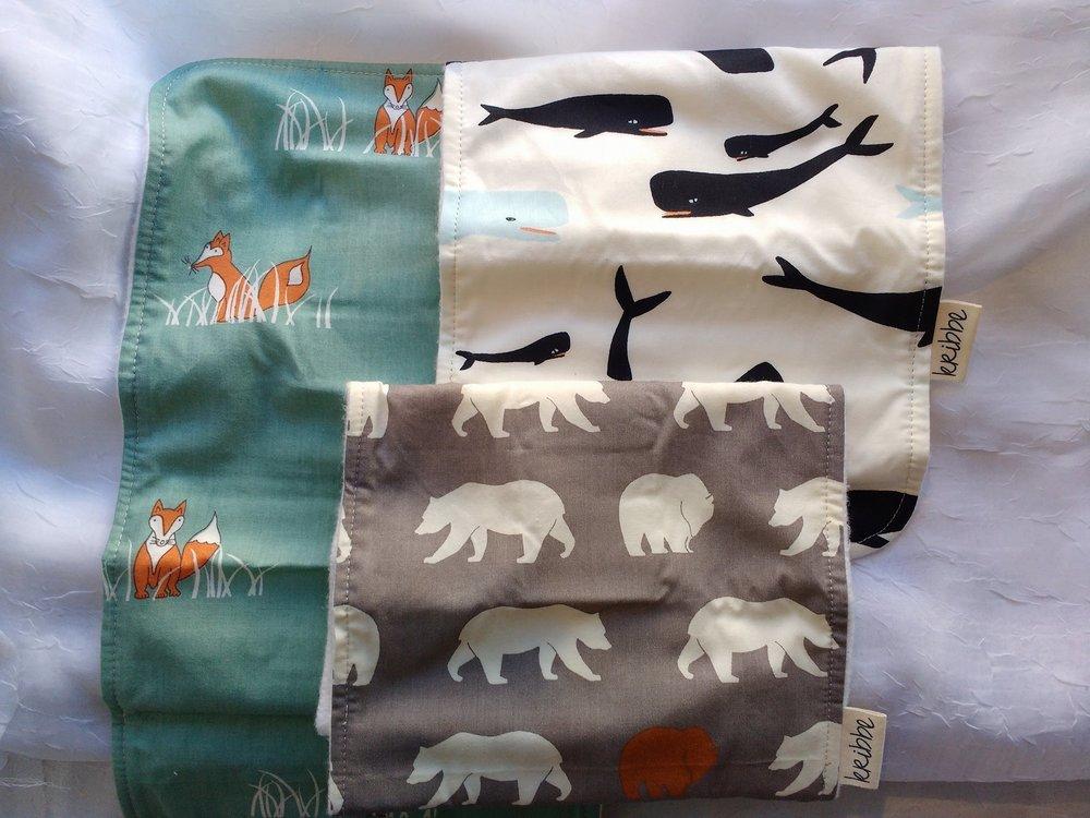 Kribbe 3pk Organic Burp Cloths in Bears, Whales and Fox   (Locally Handmade)   $39.00    Wants 1
