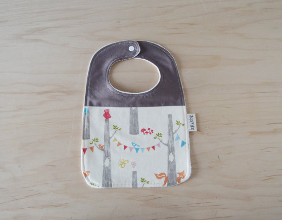 Kribbe Organic Bib in Woodland Party  - Locally Handmade   $14.00    Wants 1