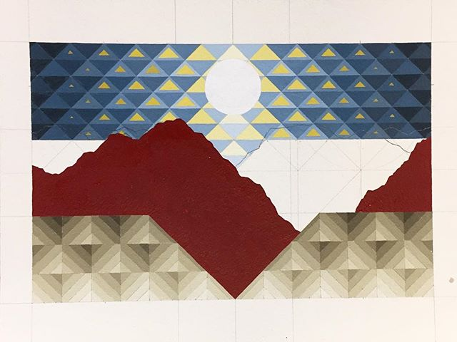 Almost a year ago I had a dream similar to this, except there was a massive condor with outstretched wings swooping in over the mountains . . . #workinprogress #geometricabstraction #painting #goldenratio #triangles #goldenacrylics