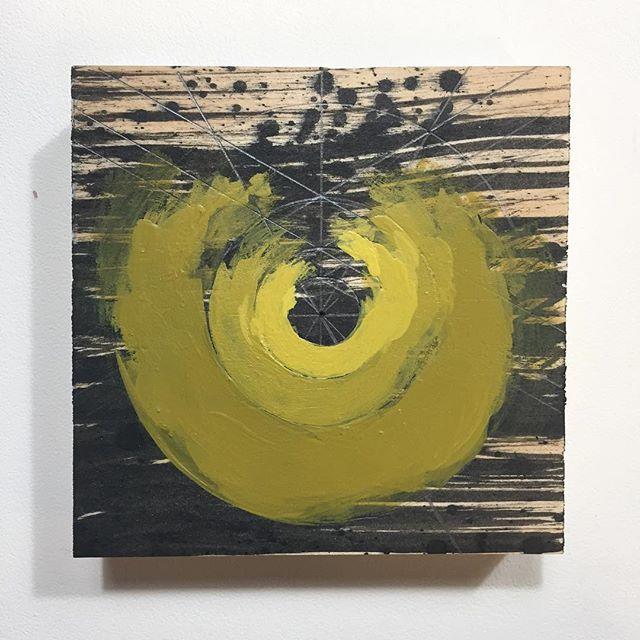 Scraps  #geometricabstraction #painting #circles #goldenpaints #yellows #ink  #paintingsonwood #brokencircle