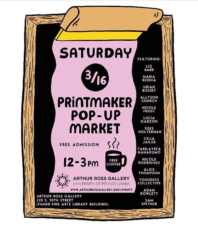 Saturday March 16th, 12-3. Come say hi! @arthurrossgallery #printmaking #smallpaintings #contemporaryart #sale