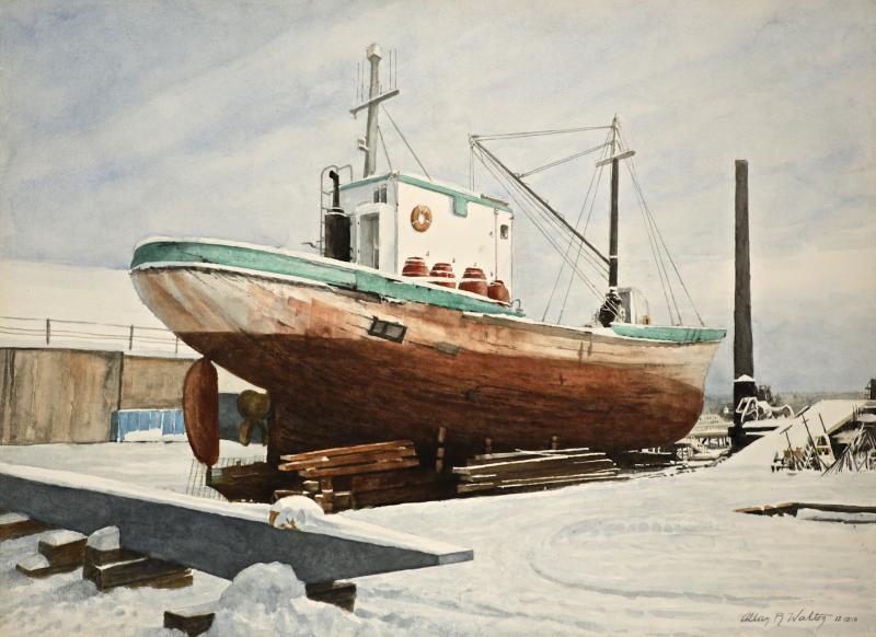 "Allan Walton watercolor, ""Glenn Geary"" at Boothbay Harbor Shipyard."