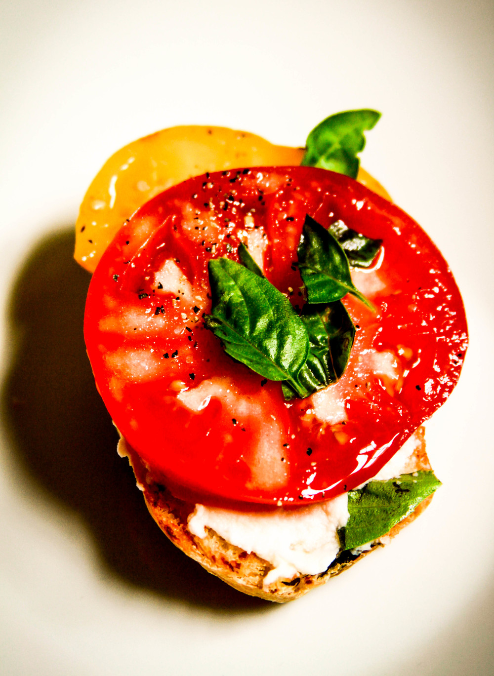 Heirloom Tomato and Ricotta Crostini