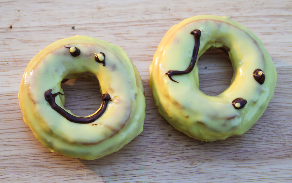 Easy to make smily and frowny face donuts.