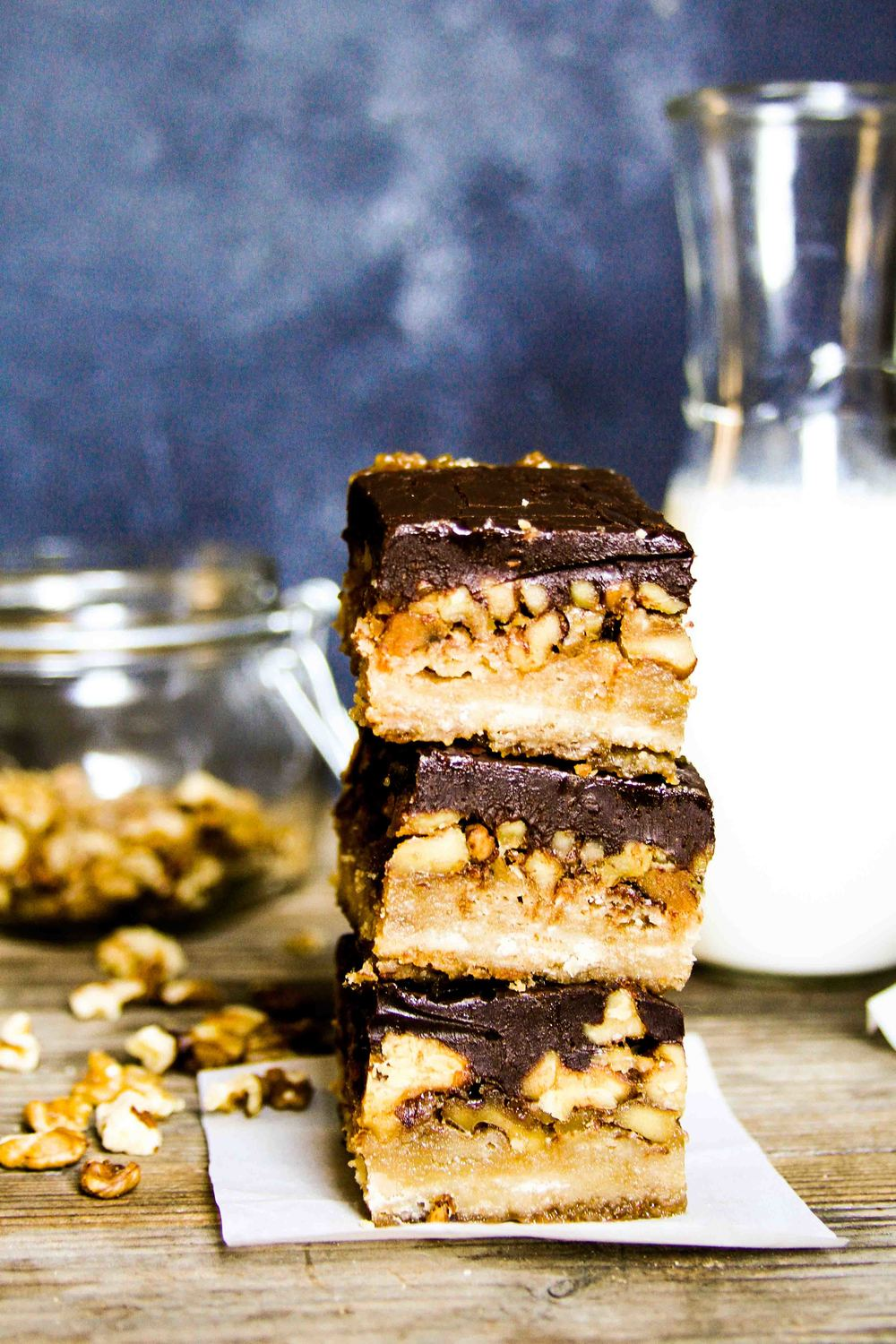 Sticky Walnut Ganache Bars