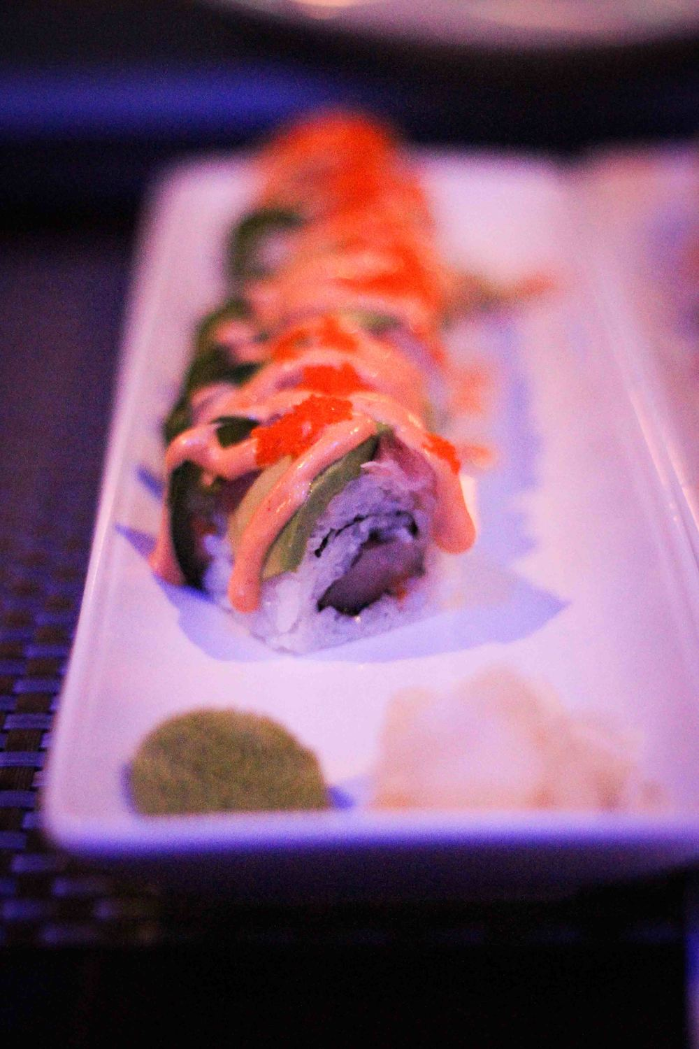 The Solar Eclipse Roll was filled with spicy yellowtail and topped with yellowtail, avocado, jalapeno, masago (roe) and spicy mayo
