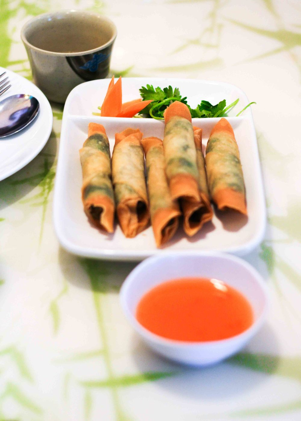 We started off our meal with fish and cilantro spring rolls.